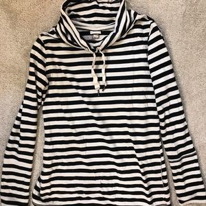 Cowl neck Striped Hoodie with Pockets